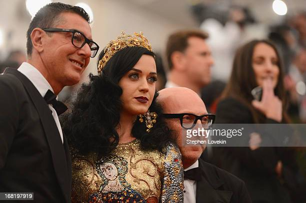 Designer Stefano Gabbana Katy Perry and designer Domenico Dolce attend the Costume Institute Gala for the PUNK Chaos to Couture exhibition at the...