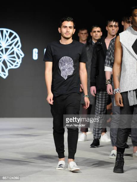 Designer Stefano Giammattei walks the runway at Vancouver Fashion Week Fall/Winter 2017 at Chinese Cultural Centre of Greater Vancouver on March 23,...
