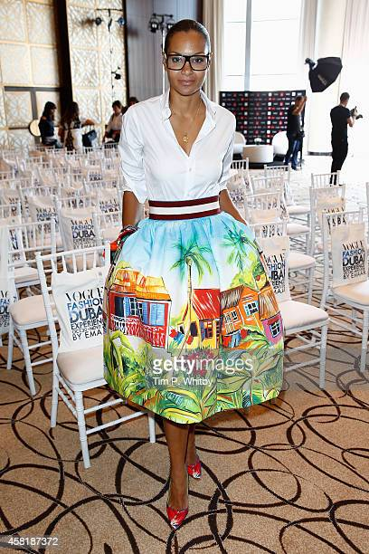 Designer Stella Jean attends a press conference during the Vogue Fashion Dubai Experience on October 30, 2014 in Dubai, United Arab Emirates.