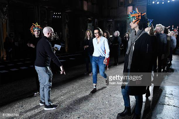Designer Stella Jean directs the models during the rehearsal ahead of the Stella Jean show during Milan Fashion Week Fall/Winter 2016/17 on February...