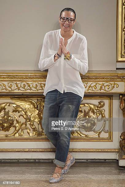 Designer Stella Jean is seen on the runway at the Stella Jean fashion show as part of Milan Men's Fashion Week Spring/Summer 2016 on June 23, 2015 in...