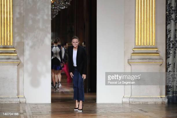 Designer Stella McCartney acknowledges the applause of the audience after the Stella McCartney ReadyToWear Fall/Winter 2012 show as part of Paris...