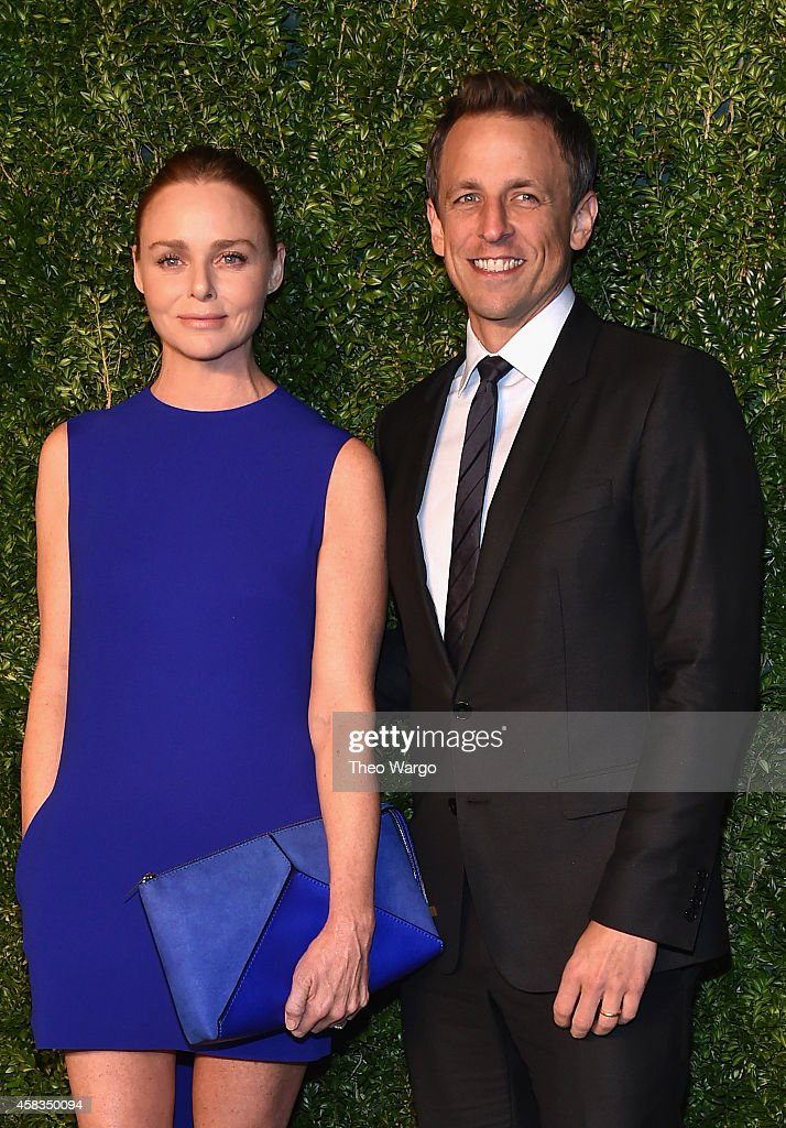 Designer Stella McCartney (L) and actor Seth Meyers attend the 11th annual CFDA/Vogue Fashion Fund Awards at Spring Studios on November 3, 2014 in New York City.