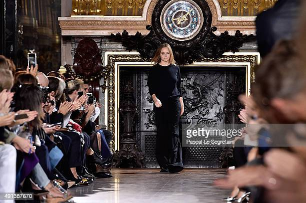 Designer Stella McCartney appears on the runway after the Stella McCartney show as part of the Paris Fashion Week Womenswear Spring/Summer 2016 on...