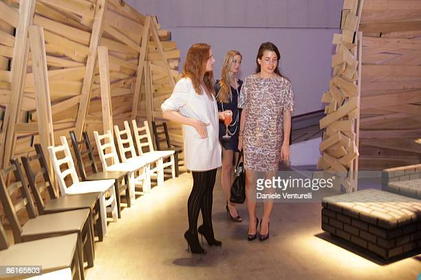 Designer Stella McCartney Beatrice Borromeo and Charlotte Casiraghi attend the Stella McCartney and Established Sons cocktail party held at the La...