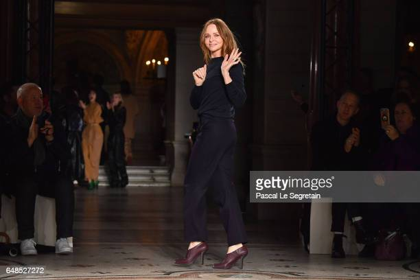 Designer Stella McCartney is seen on the runway during the Stella McCartney show as part of the Paris Fashion Week Womenswear Fall/Winter 2017/2018...
