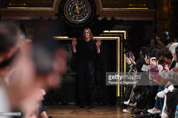 Designer Stella McCartney walks the runway during the Stella McCartney as part of the Paris Fashion Week Womenswear Fall/Winter 2020/2021 on March...