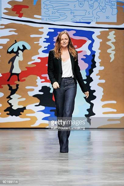 Designer Stella McCartney walks the runway during the Stella McCartney Ready To Wear show as part of the Paris Womenswear Fashion Week Spring/Summer...
