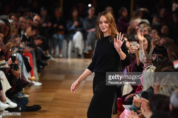Designer Stella McCartney walks the runway during the Stella McCartney show as part of the Paris Fashion Week Womenswear Spring/Summer 2019 on...