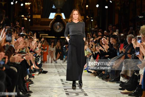 Designer Stella McCartney walks the runway during the Stella McCartney show as part of the Paris Fashion Week Womenswear Fall/Winter 2019/2020 on...