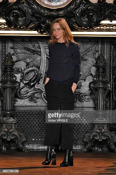 Designer Stella McCartney walks the runway during the Stella McCartney show as part of the Paris Fashion Week Womenswear Fall/Winter 2015/2016 on...
