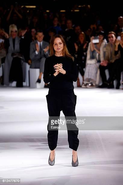 Designer Stella McCartney walks the runway during the Stella McCartney show as part of the Paris Fashion Week Womenswear Spring/Summer 2017 on...