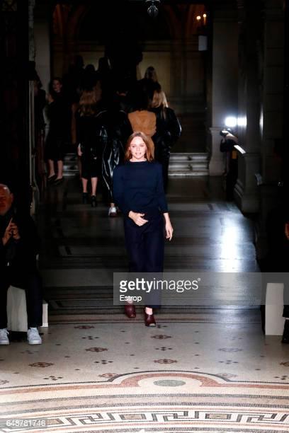 Designer Stella McCartney walks the runway during the Stella McCartney show as part of the Paris Fashion Week Womenswear Fall/Winter 2017/2018 on...