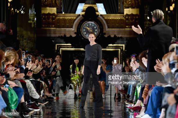 Designer Stella McCartney walks the runway during the Stella McCartney show as part of the Paris Fashion Week Womenswear Fall/Winter 2018/2019 on...