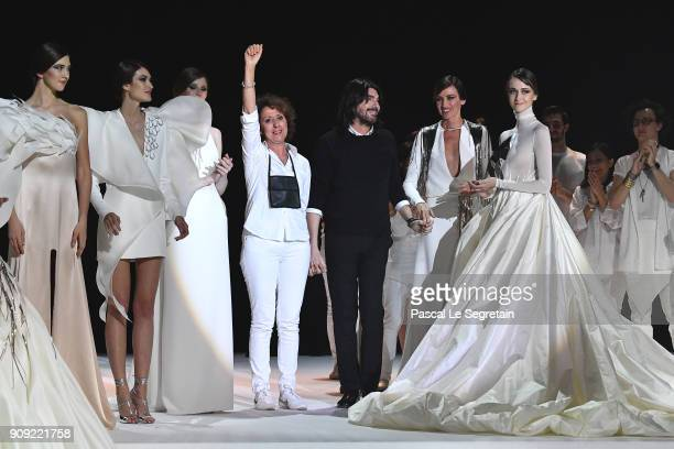 Designer Stephane Rolland and model Nieves Alvarez on stage during the Stephane Rolland Spring Summer 2018 show as part of Paris Fashion Week on...
