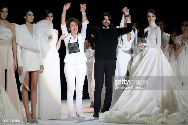 Designer Stephane Rolland Nieves Alvarez and models on stage during the Stephane Rolland Haute Couture Spring Summer 2018 show as part of Paris...