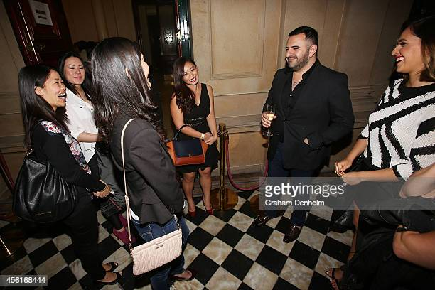 Designer Steven Khalil meets with guests during the MercedesBenz Meet and Greets during MercedesBenz Fashion Festival Sydney at Town Hall on...