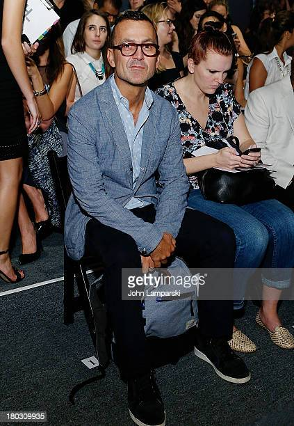 Designer Steven Kolb attends the Bibhu Mohapatra show during Spring 2014 MercedesBenz Fashion Week at The Studio at Lincoln Center on September 11...