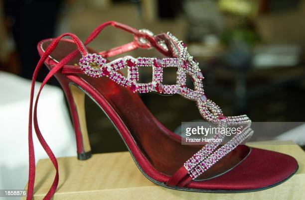 Designer Stuart Weitzman's million dollar Ruby Ladies shoe's are on shown at the Le Maridien Hotel on March 19, 2003 in Los Angeles, California.