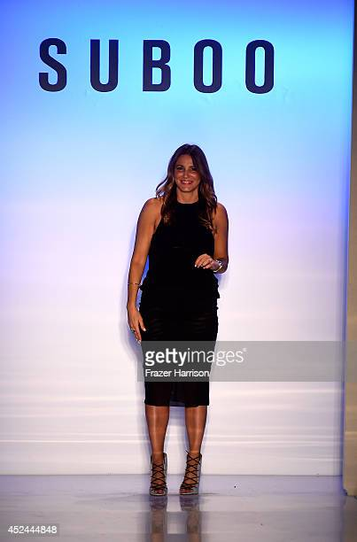 Designer Sue Di Chio walks the runway during the Suboo show at MercedesBenz Fashion Week Swim 2015 at The Raleigh on July 20 2014 in Miami Beach...