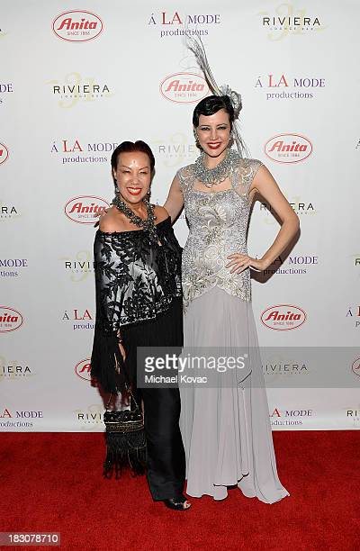 Designer Sue Wong and muse Brandise Danesewich arrive for A la mode Productions Presents Designers Night Out at Sofitel Hotel on October 3 2013 in...