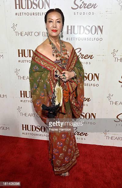 Designer Sue Wong arrives at Hudson Jeans Presents The Art of Elysium's Genesis Celebrating Emerging Artists at Siren Cube on September 20, 2013 in...