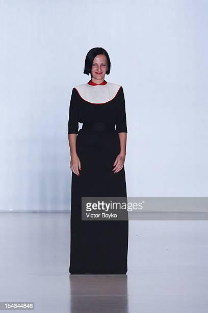 Designer Svetlana Tegin on the runway after the Tegin Spring/Summer 2013 show on day 1 of MercedesBenz Fashion Week Russia Spring/Summer 2013 at...