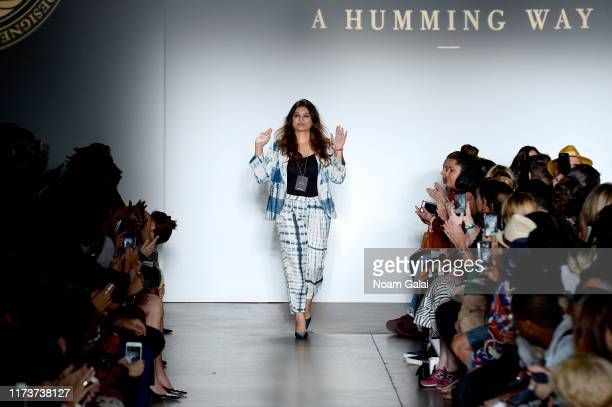 Designer Sweta Agrawal walks the runway wearing A Humming Way for CAAFD Emerging Designer Collective during New York Fashion Week The Shows on...