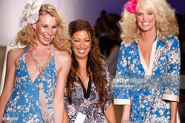 Designer Sylvie Cachay with models walks the runway at Syla by Sylvie Cachay 2009 collection fashion show during MercedesBenz Fashion Week Swim at...