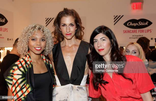 Designer Tabitha St BernardJacobs actress Alysia Reiner and designer Claudine DeSola pose for a photo together at Kia STYLE360 Hosts Livari by Alysia...