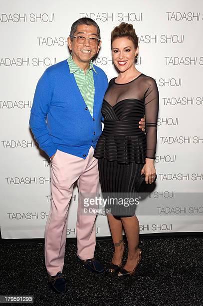 Designer Tadashi Shoji and Alyssa Milano attend the Tadashi Shoji Spring 2014 fashion show at The Stage Lincoln Center on September 5 2013 in New...