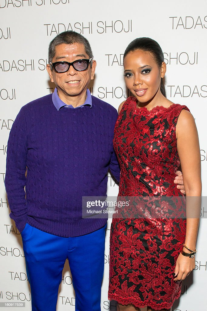 Designer Tadashi Shoji (L) and Angela Simmons attend Tadashi Shoji during Fall 2013 Mercedes-Benz Fashion Week at The Stage at Lincoln Center on February 7, 2013 in New York City.