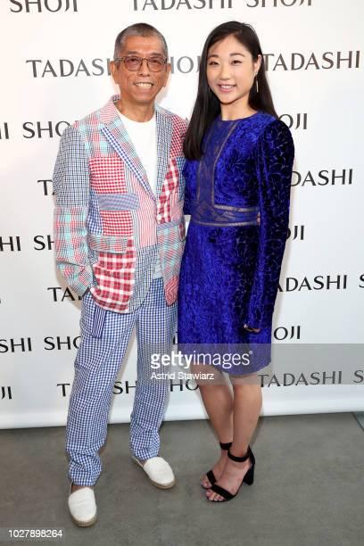 Designer Tadashi Shoji and figure skater Mirai Nagasu pose backstage for the Tadashi Shoji show during New York Fashion Week The Shows at Gallery I...