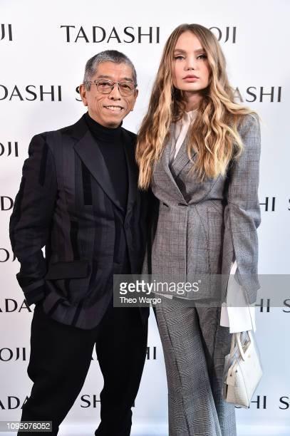 Designer Tadashi Shoji and model Elena Matei pose backstage for Tadashi Shoji FW'19 Fashion Show during New York Fashion Week The Shows at Gallery I...