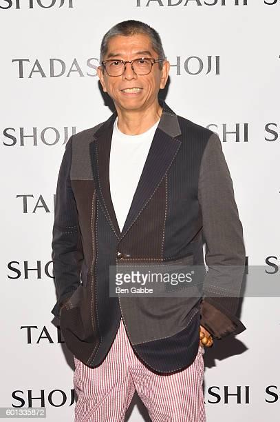 Designer Tadashi Shoji poses backstage at the Tadashi Shoji fashion show during New York Fashion Week The Shows at The Arc Skylight at Moynihan...