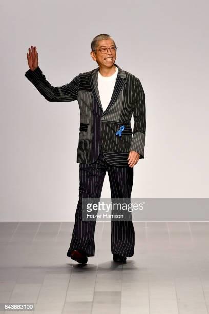 Designer Tadashi Shoji walks the runway for Tadashi Shoji fashion show during New York Fashion Week The Shows at Gallery 1 Skylight Clarkson Sq on...