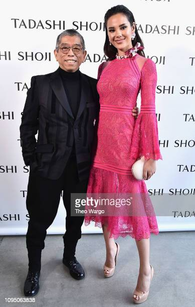Designer Tadashi Shojo and Miss Universe 2018 Catriona Gray pose backstage for Tadashi Shoji FW'19 Fashion Show during New York Fashion Week The...