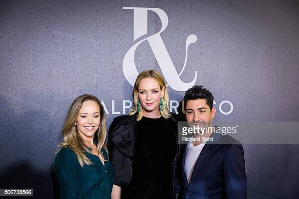 Designer Tamara Ralph Uma Thurman and Michael Russo pose backstage after the Ralph Russo Spring Summer 2016 show as part of Paris Fashion Week on...