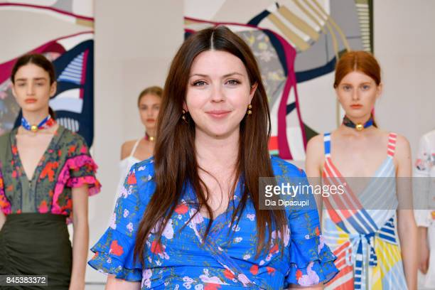 Designer Tanya Taylor poses with models for TRESemme at Tanya Taylor presentation during New York Fashion Week The Shows at Spring Studios on...