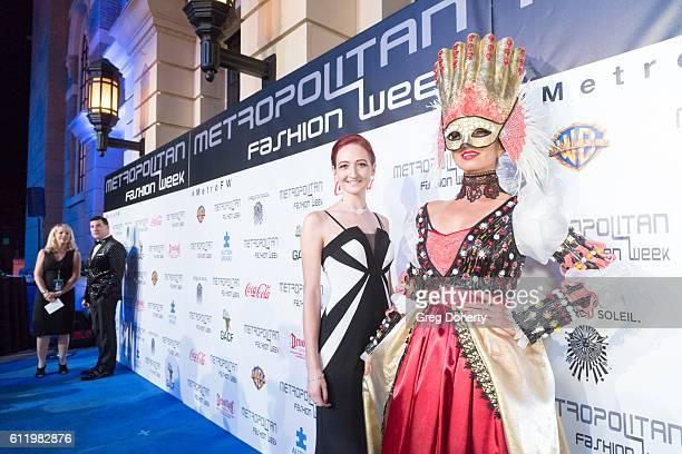 Designer Taylor Decker and model arrive at the Metropolitan Fashion Week 2016 Closing Gala And Fashion Awards at Warner Bros Studios on October 1...