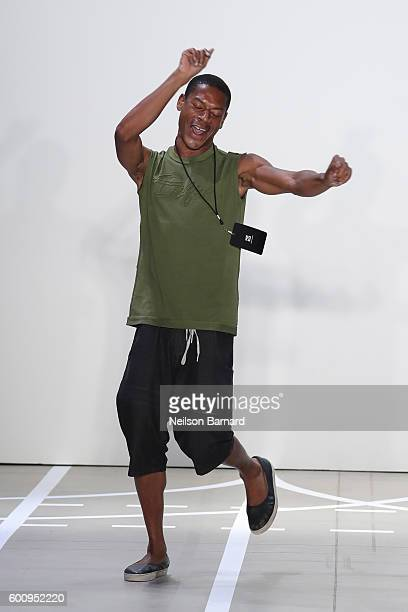 Designer Telfar walks on the runway at the Telfar fashon show during New York Fashion Week The Shows at The Gallery Skylight at Clarkson Sq on...