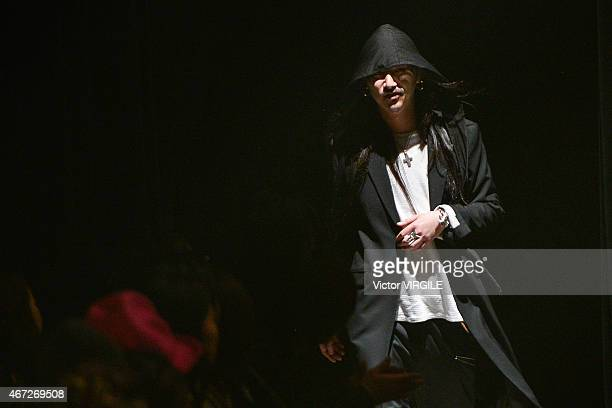 Designer Teppei Fujita walks the runway during the Sulvam show as part of Mercedes Benz Fashion Week TOKYO 2015 A/W on March 21 2015 in Tokyo Japan