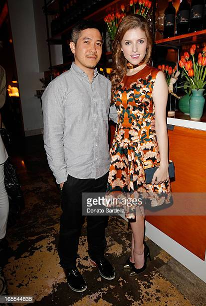 Designer Thakoon Panichgul and actress Anna Kendrick attend Vogue's Triple Threats dinner hosted by Sally Singer and Lisa Love at Goldie's on April 3...