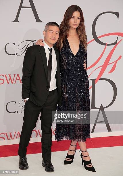 Designer Thakoon Panichgul and model Lily Aldridge attend the 2015 CFDA Fashion Awards at Alice Tully Hall at Lincoln Center on June 1 2015 in New...