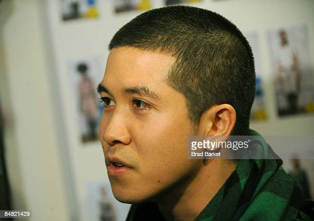 Designer Thakoon Panichgul backstage at the Thakoon Fall 2009 fashion show during MercedesBenz Fashion Week at Eyebeam on February 16 2009 in New...