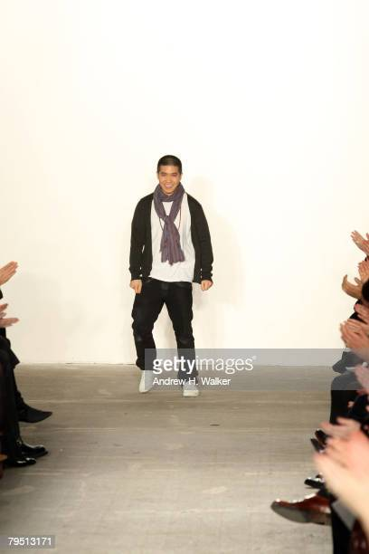 Designer Thakoon Panichgul on the runway at the Thakoon 2008 fashion show during MercedesBenz Fashion Week Fall 2008 at Eyebeam on February 4 2008 in...