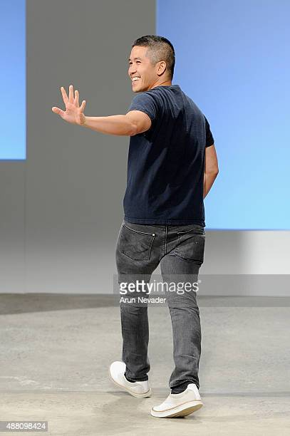 Designer Thakoon Panichgul walks the runway wearing Kerastase Paris at Thakoon Spring 2016 during New York Fashion Week The Shows at SIR Stage 37 on...