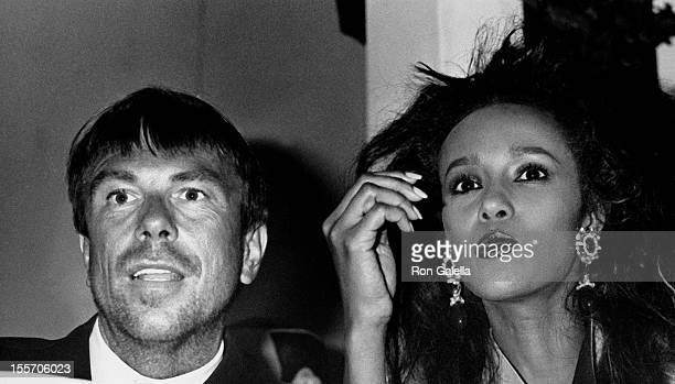 Designer Theirry Mugler and model Iman attends The Love Ball Benefit for Design Industries Foundation for AIDS on May 10 1989 at Roseland Ballroom in...