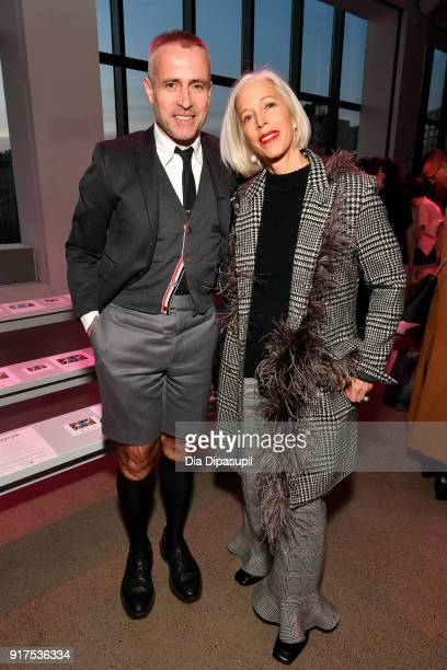Designer Thom Brown and Linda Fargo attends the Libertine fashion show during New York Fashion Week The Shows at Gallery II at Spring Studios on...