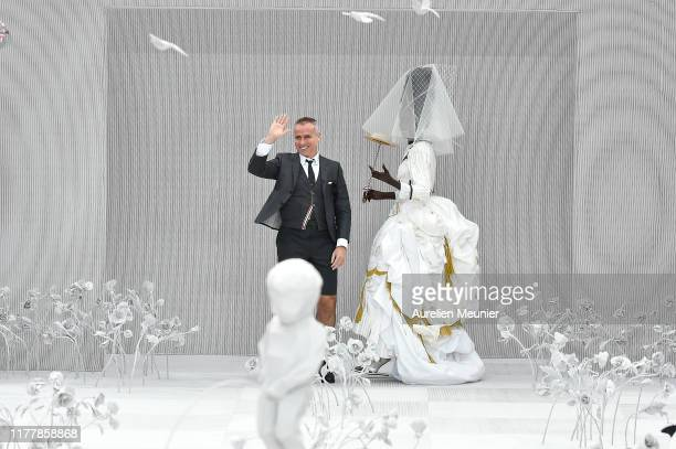 Designer Thom Browne acknowledges the audience during the Thom Browne Womenswear Spring/Summer 2020 show as part of Paris Fashion Week on September...